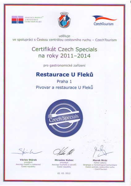 U Fleků certifikat Czech Special